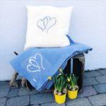 Lyse blått hjertepledd