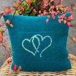 Hjertepute petrolblå